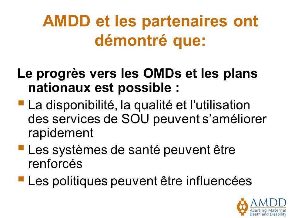 AMDD et les partenaires ont démontré que: