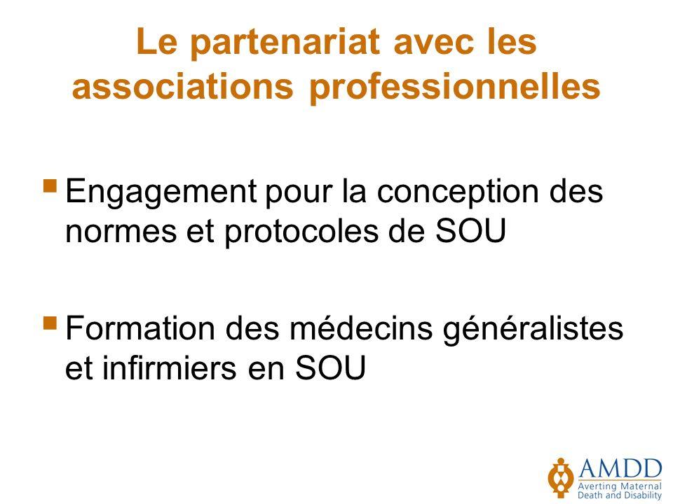 Le partenariat avec les associations professionnelles