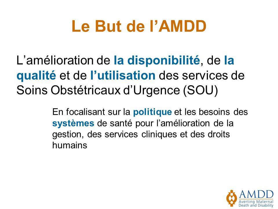 Le But de l'AMDD L'amélioration de la disponibilité, de la qualité et de l'utilisation des services de Soins Obstétricaux d'Urgence (SOU)