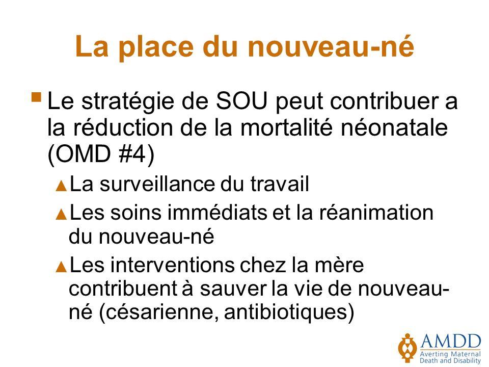 La place du nouveau-né Le stratégie de SOU peut contribuer a la réduction de la mortalité néonatale (OMD #4)