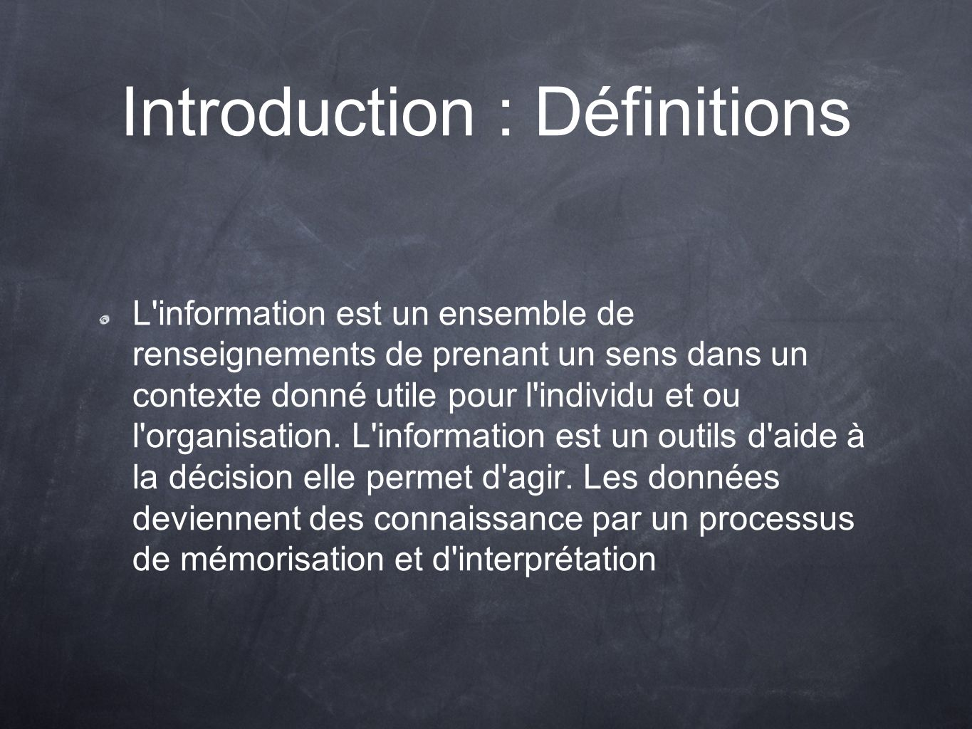 Introduction : Définitions