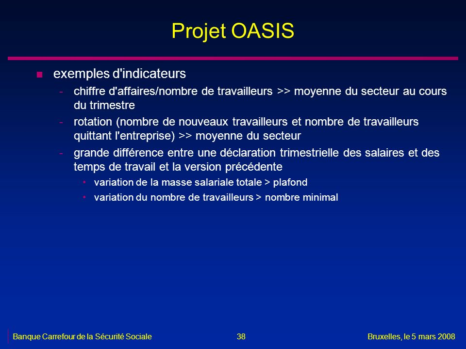 Projet OASIS exemples d indicateurs