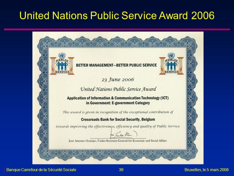 United Nations Public Service Award 2006