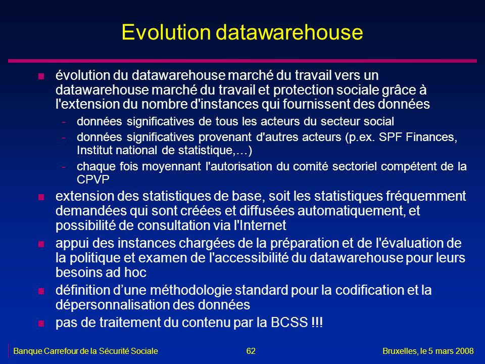 Evolution datawarehouse