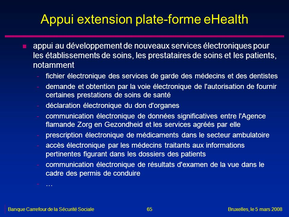 Appui extension plate-forme eHealth