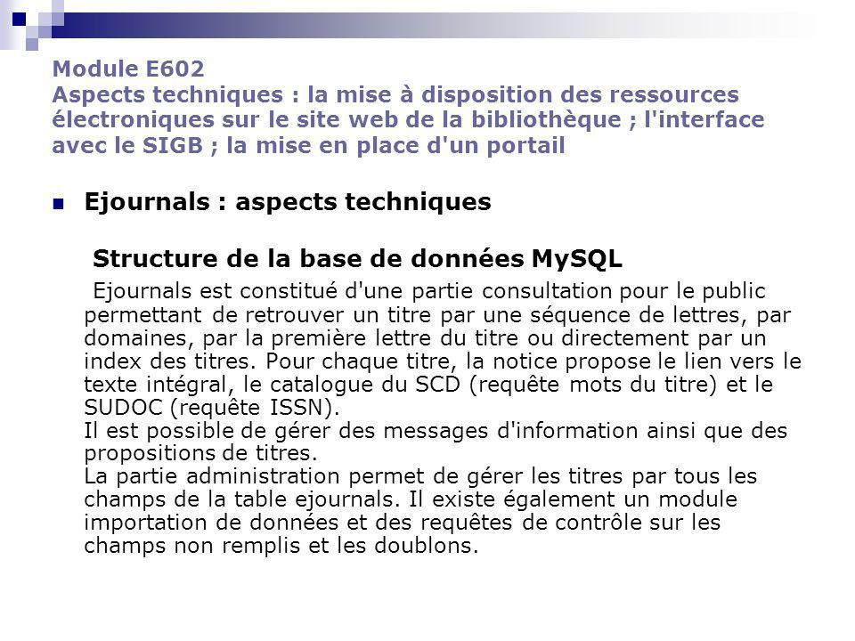 Ejournals : aspects techniques Structure de la base de données MySQL