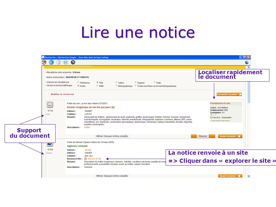 Lire une notice Localiser rapidement le document Support du document