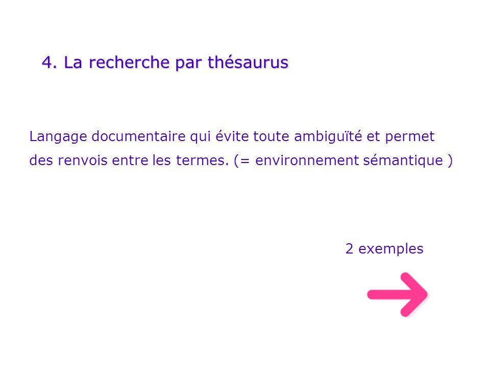 4. La recherche par thésaurus