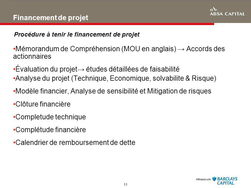 Évaluation du projet→ études détaillées de faisabilité