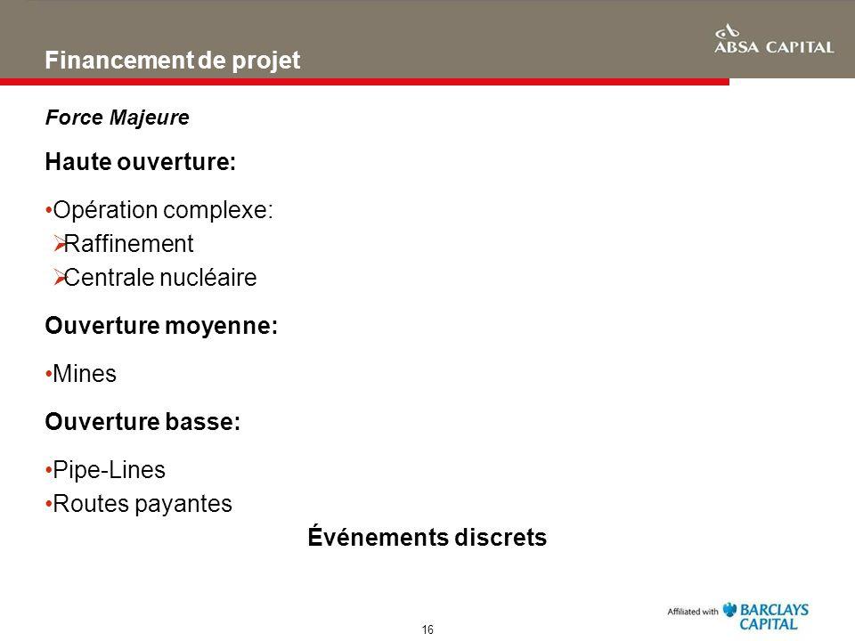 Financement de projet Haute ouverture: Opération complexe: Raffinement