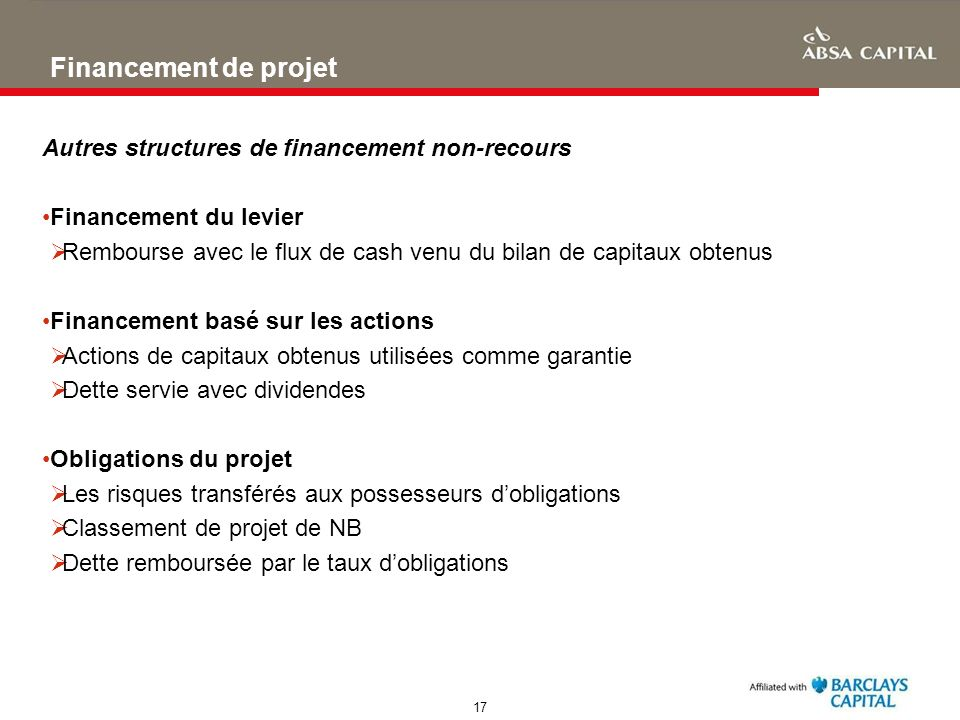 Financement de projet Autres structures de financement non-recours