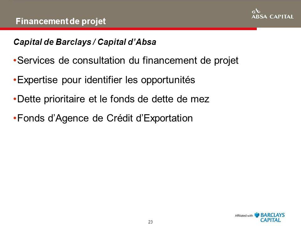 Services de consultation du financement de projet