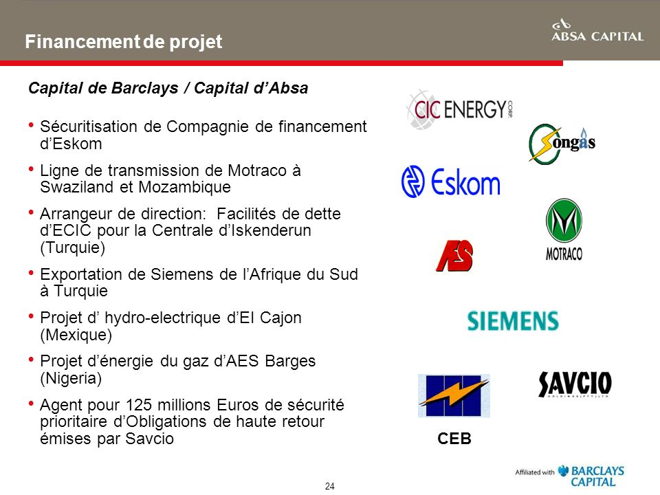 Financement de projet Capital de Barclays / Capital d'Absa