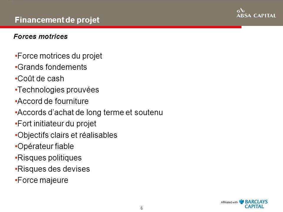 Force motrices du projet Grands fondements Coût de cash