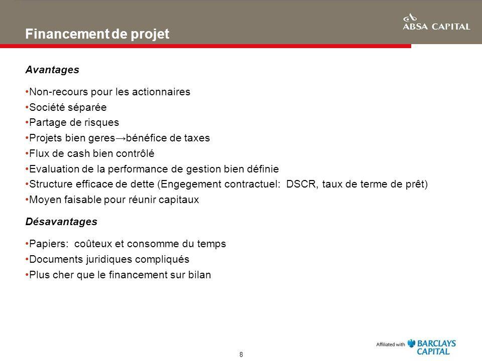 Financement de projet Avantages Non-recours pour les actionnaires