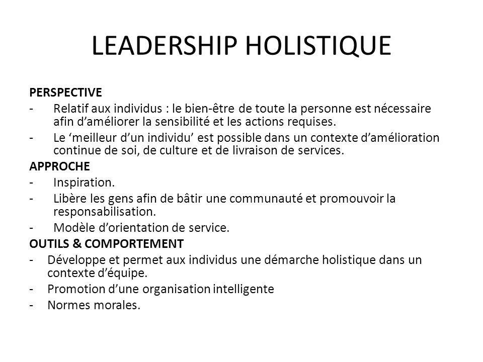 LEADERSHIP HOLISTIQUE