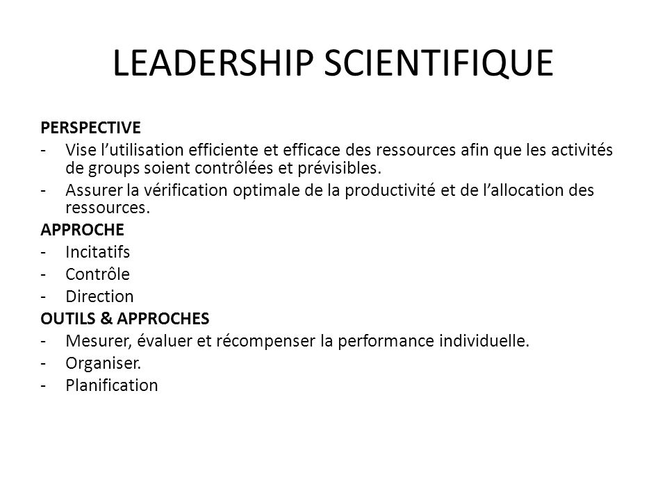 LEADERSHIP SCIENTIFIQUE