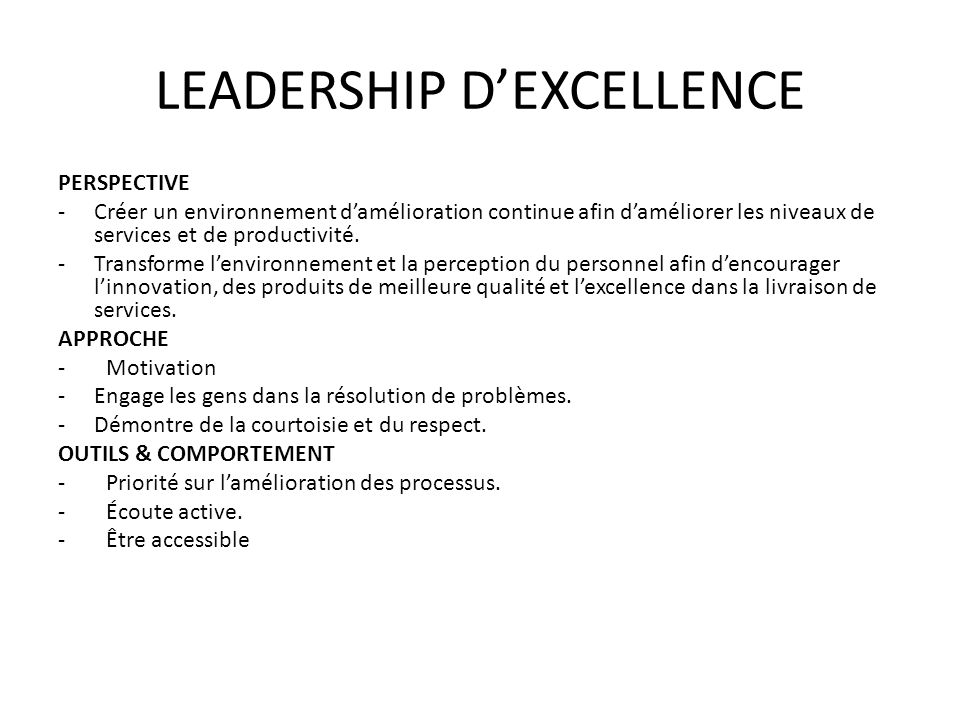 LEADERSHIP D'EXCELLENCE