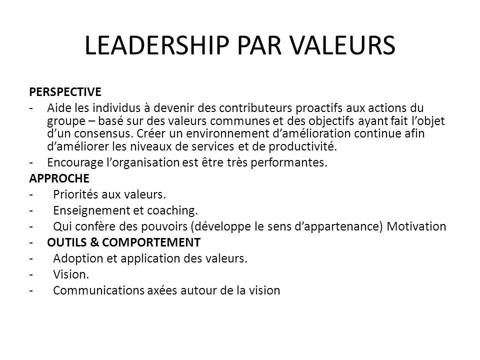 LEADERSHIP PAR VALEURS