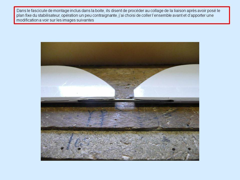 Dans le fascicule de montage inclus dans la boite, ils disent de procéder au collage de la liaison après avoir posé le plan fixe du stabilisateur, opération un peu contraignante, j'ai choisi de coller l'ensemble avant et d'apporter une modification a voir sur les images suivantes