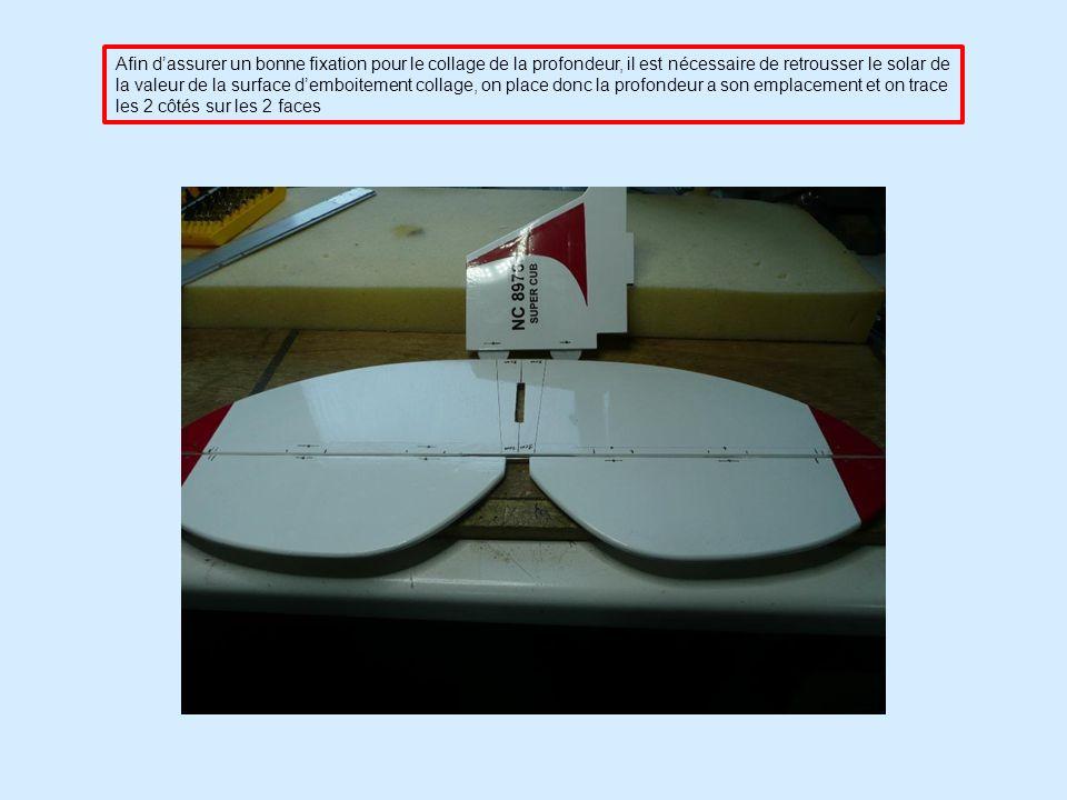 Afin d'assurer un bonne fixation pour le collage de la profondeur, il est nécessaire de retrousser le solar de la valeur de la surface d'emboitement collage, on place donc la profondeur a son emplacement et on trace les 2 côtés sur les 2 faces