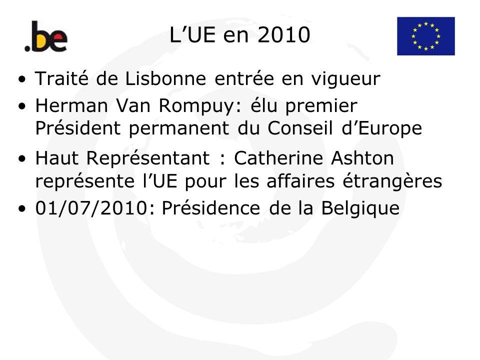L'UE en 2010 Traité de Lisbonne entrée en vigueur
