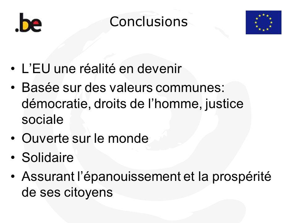Conclusions L'EU une réalité en devenir. Basée sur des valeurs communes: démocratie, droits de l'homme, justice sociale.