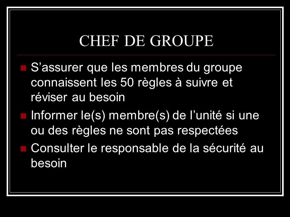 CHEF DE GROUPE S'assurer que les membres du groupe connaissent les 50 règles à suivre et réviser au besoin.