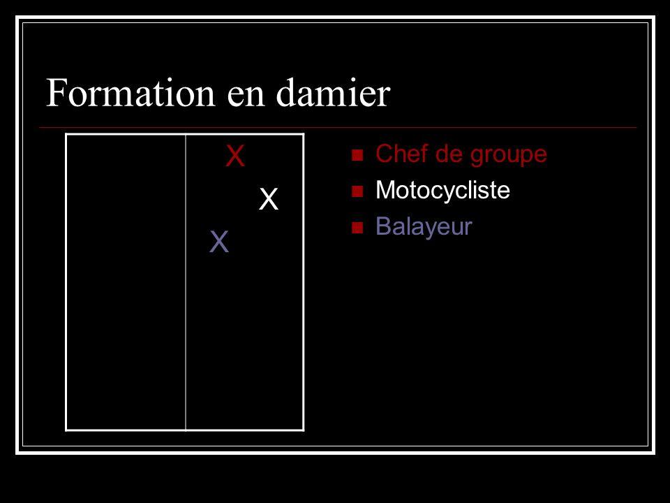 Formation en damier X Chef de groupe Motocycliste Balayeur