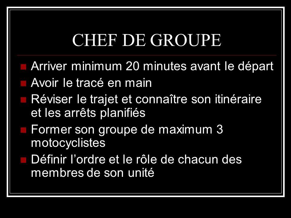 CHEF DE GROUPE Arriver minimum 20 minutes avant le départ