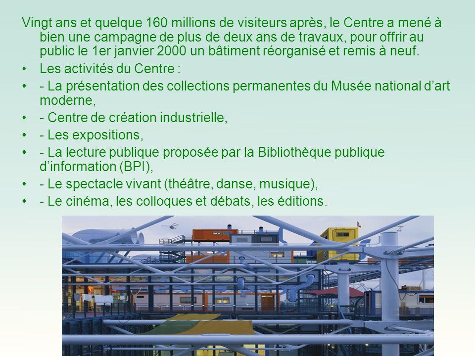 Vingt ans et quelque 160 millions de visiteurs après, le Centre a mené à bien une campagne de plus de deux ans de travaux, pour offrir au public le 1er janvier 2000 un bâtiment réorganisé et remis à neuf.