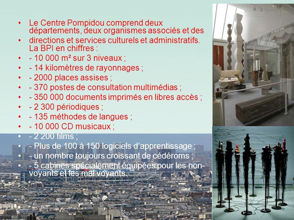 Le Centre Pompidou comprend deux départements, deux organismes associés et des