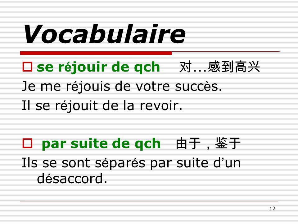 Vocabulaire se réjouir de qch 对...感到高兴 Je me réjouis de votre succès.