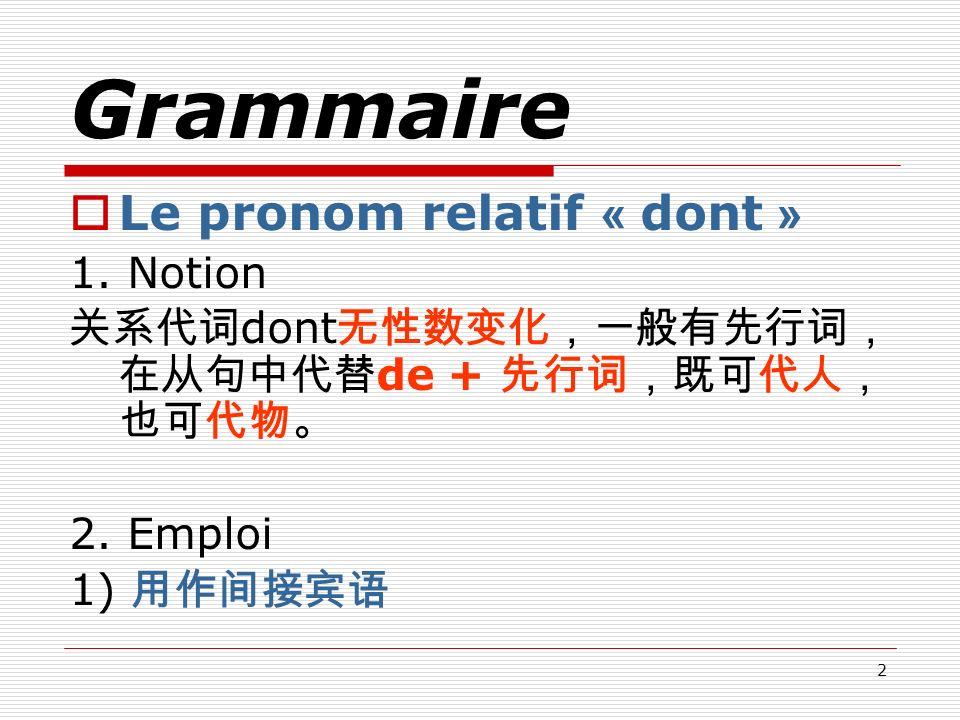 Grammaire Le pronom relatif « dont » 1. Notion