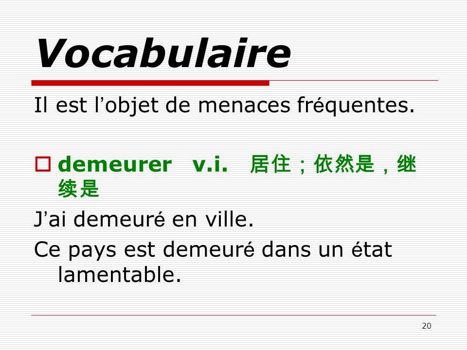 Vocabulaire Il est l'objet de menaces fréquentes.