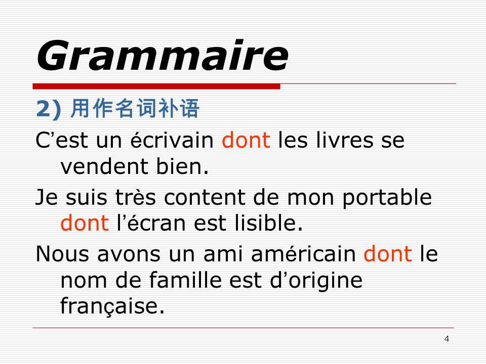 Grammaire 2) 用作名词补语 C'est un écrivain dont les livres se vendent bien.