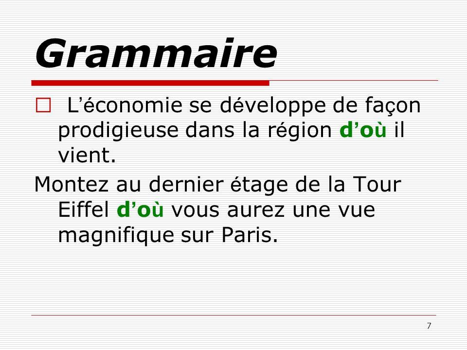 Grammaire ※ L'économie se développe de façon prodigieuse dans la région d'où il vient.
