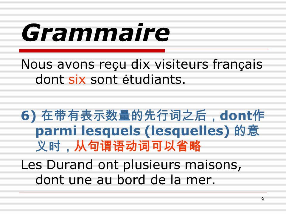 Grammaire Nous avons reçu dix visiteurs français dont six sont étudiants. 6) 在带有表示数量的先行词之后,dont作 parmi lesquels (lesquelles) 的意义时,从句谓语动词可以省略.