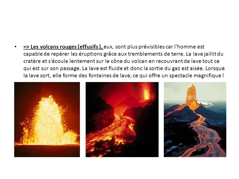 => Les volcans rouges (effusifs ), eux, sont plus prévisibles car l homme est capable de repérer les éruptions grâce aux tremblements de terre.