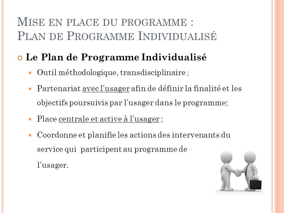 Mise en place du programme : Plan de Programme Individualisé