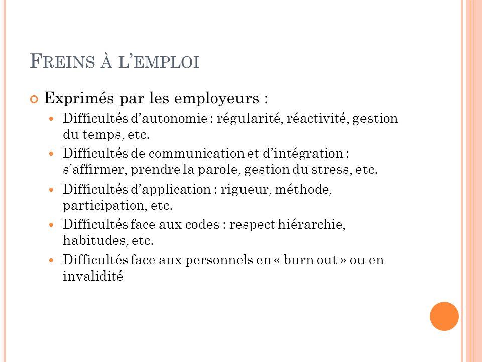 Freins à l'emploi Exprimés par les employeurs :