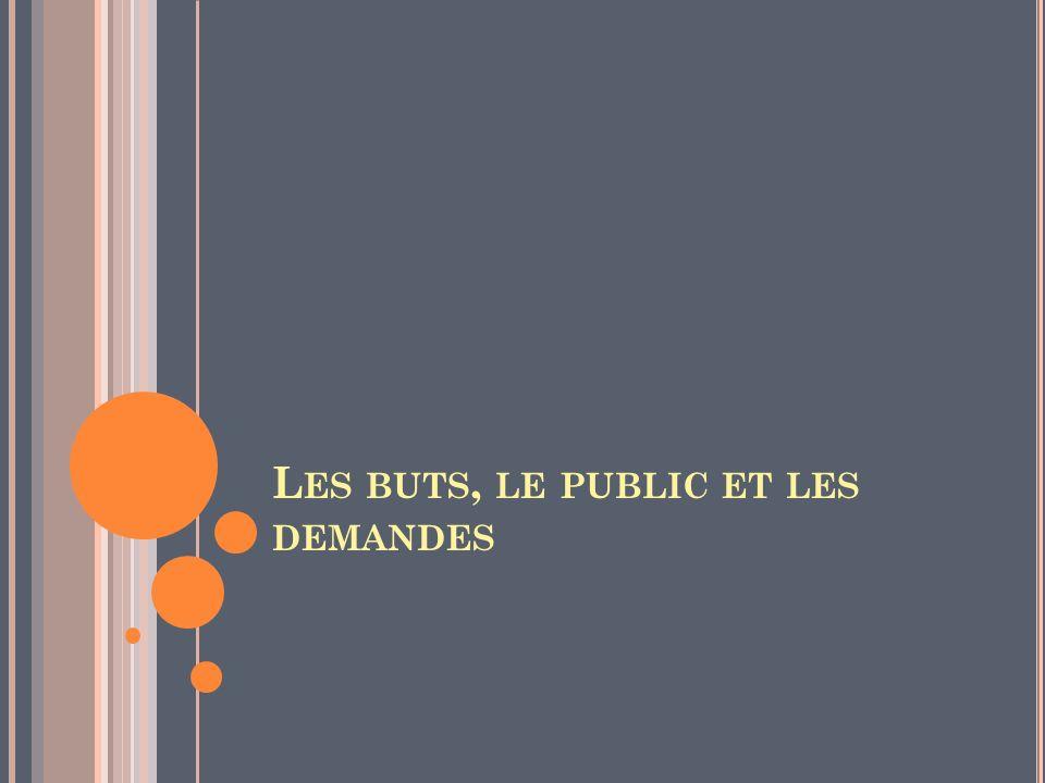 Les buts, le public et les demandes