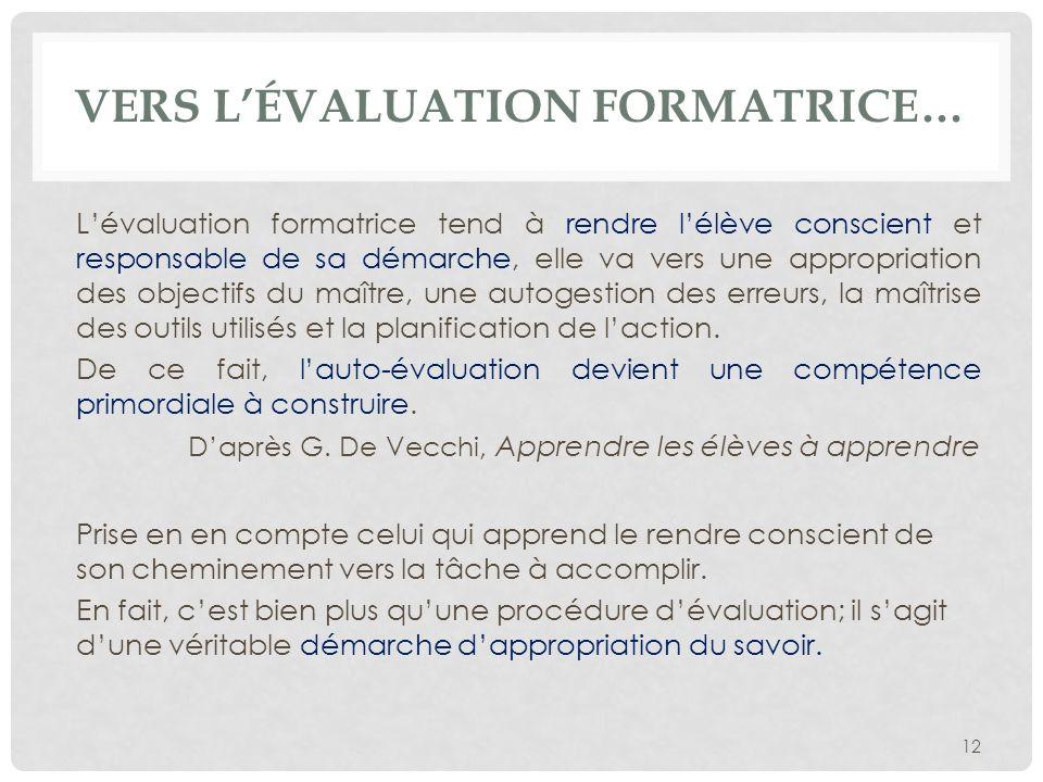 vers l'évaluation formatrice…