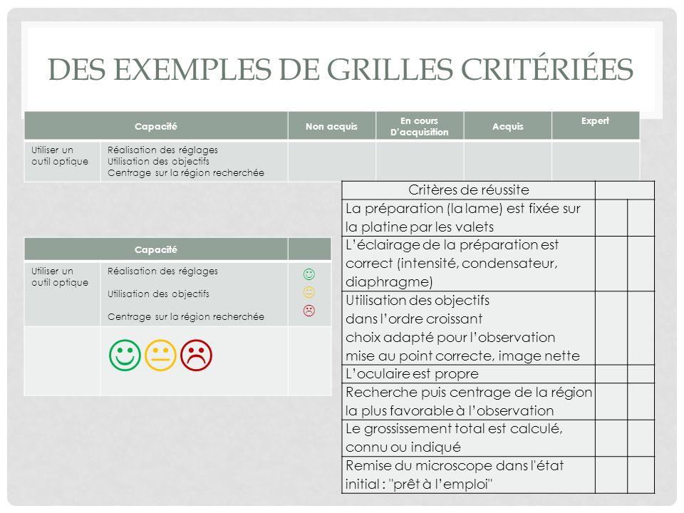Des exemples de grilles critériées