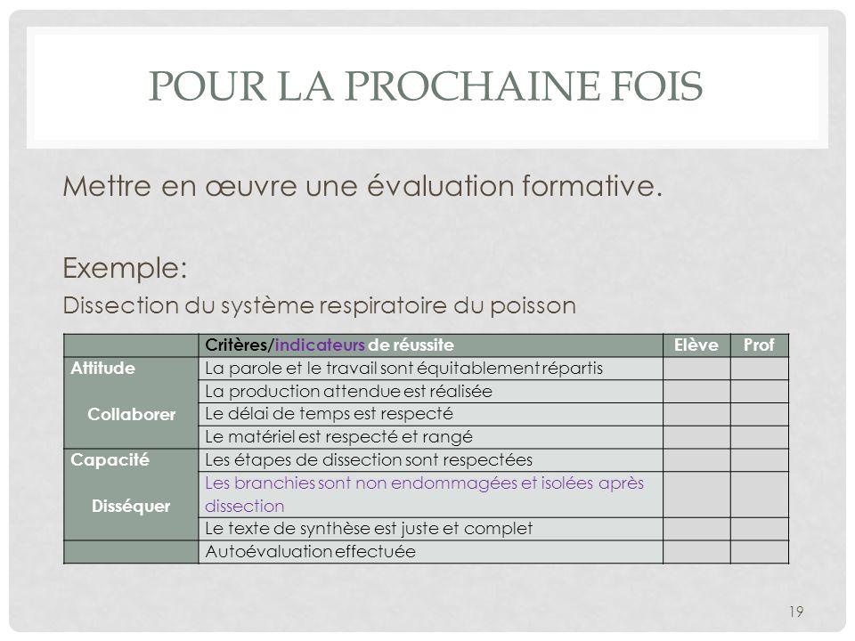 Pour la prochaine fois Mettre en œuvre une évaluation formative.
