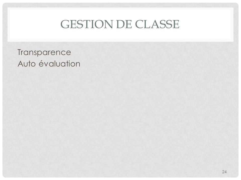 Gestion de classe Transparence Auto évaluation