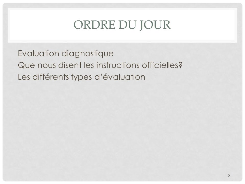 Ordre du jour Evaluation diagnostique Que nous disent les instructions officielles.