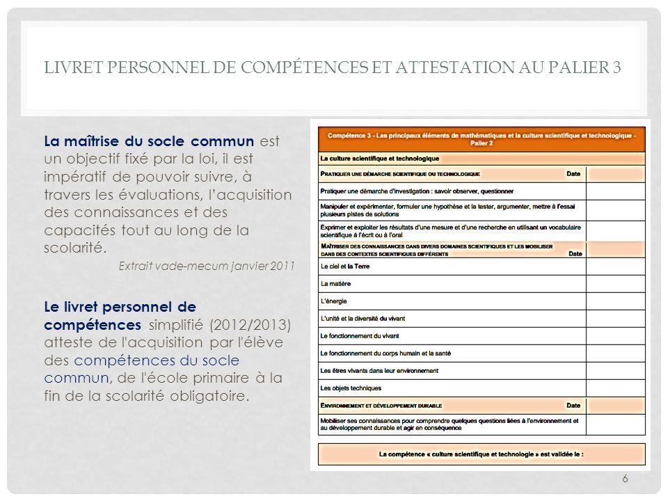 Livret personnel de compétences et attestation au palier 3
