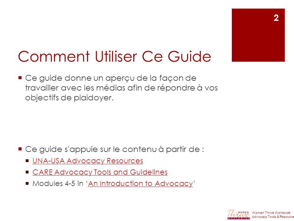 Comment Utiliser Ce Guide