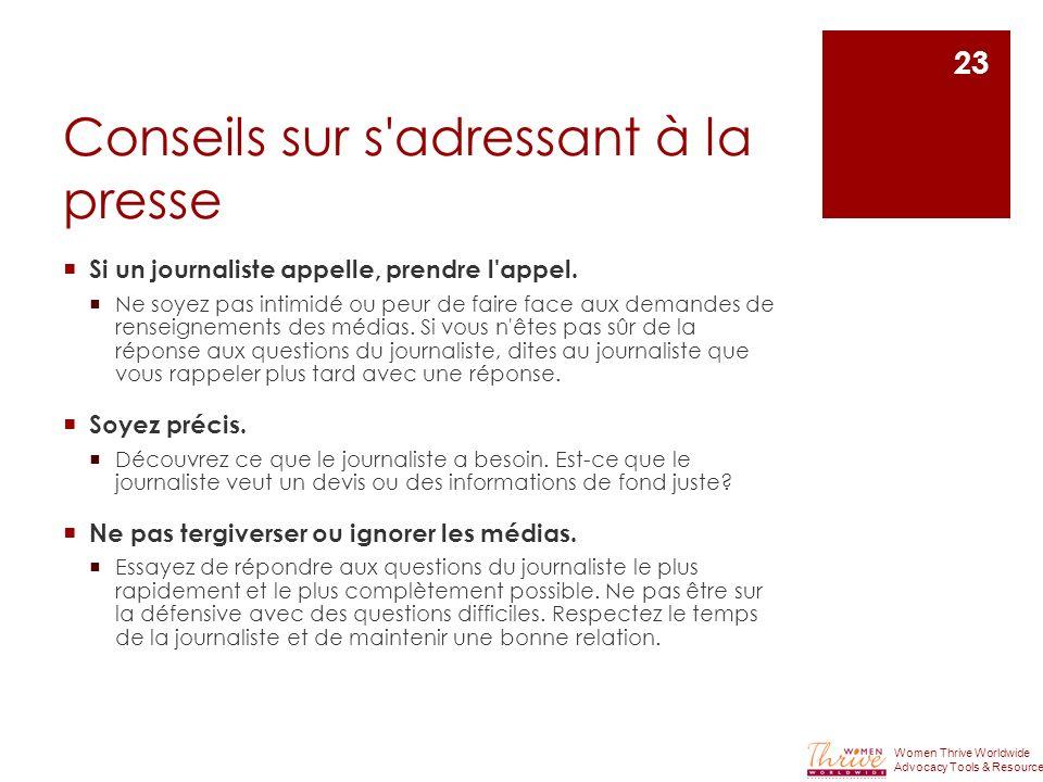 Conseils sur s adressant à la presse